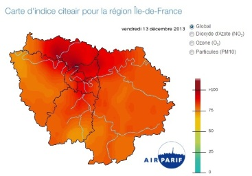 Carte d'indice citeair pour la région Île-de-France